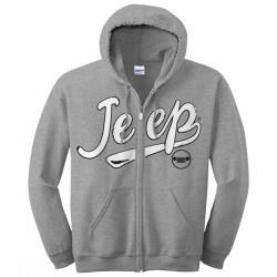 sweat shirt gris a capuche avec fermeture eclair Jeep taille L