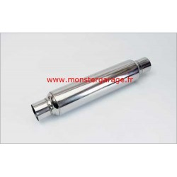 "Silencieux Glaspack acier inox,ؠ57 mm 2.25 "" 48 cm de long"
