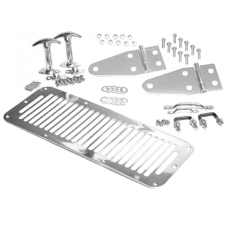 Kit de capot, acier inox comportant grille d aération,arceaux d appui, charnières de capot,attache-capots, acier inox, CJ, YJ