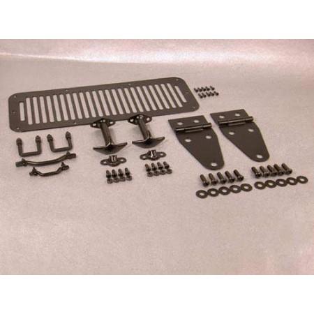 Kit de capot, finition noire comportant grille d aération, arceaux d appui,charnières de capot, attache-capots, noir, CJ, YJ