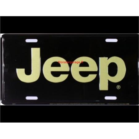Plaque metal Jeep noire et lettre or